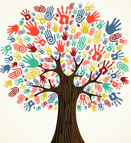 Colorful hands on a tree